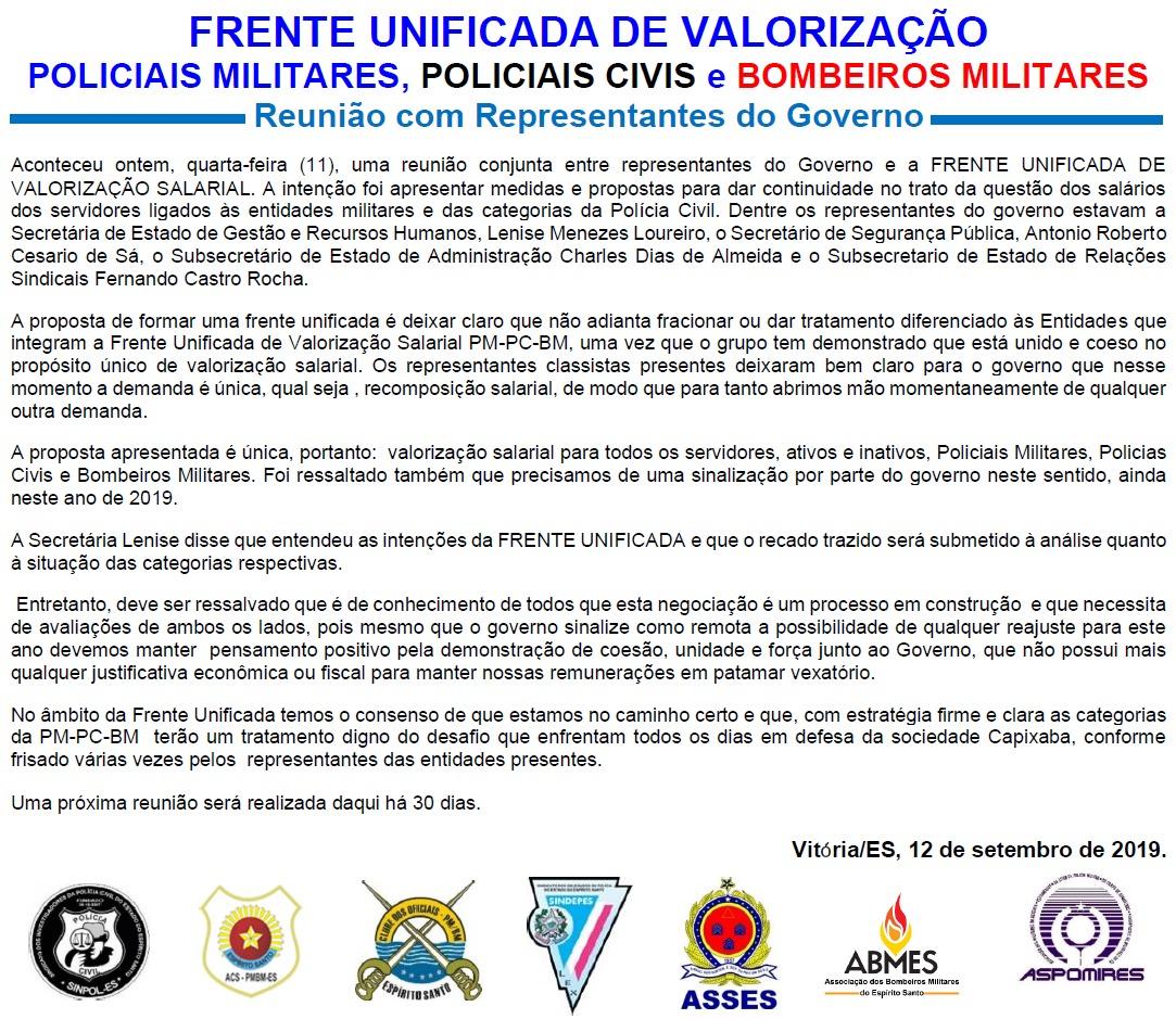 GOVERNO RECEBE A FRENTE DE VALORIZAÇÃO SALARIAL