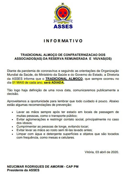 INFORMATIVO ALMOÇO 1º DE MAIO