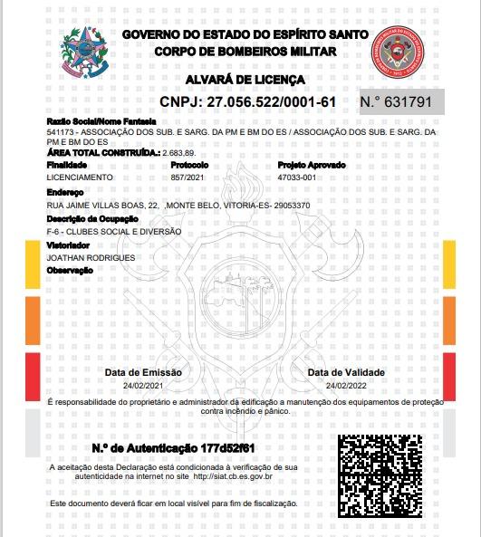 ASSES RECEBE O ALVARÁ DE LICENCIAMENTO DO CORPO BOMBEIROS